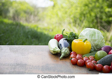 Set of organic vegetables and fruits on rustic wooden table and blur background. Copy space.