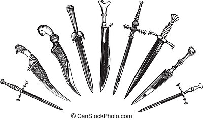 Set of Oriental and European Daggers in a woodcut like...