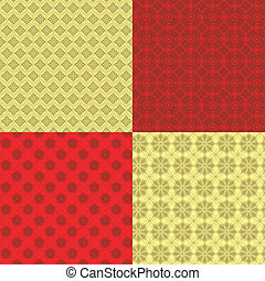 Set of Oriental Chinese New Year Seamless Pattern