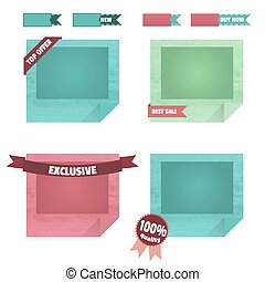 Set of origami frames with curved corners. Collection of design elements in the style of flat is for your site.