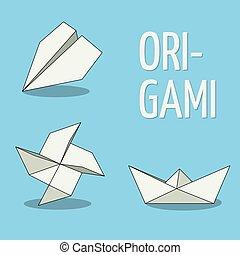 Set of origami objects. White on blue background. Plane, pinwheel and boat.