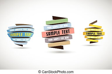 Set of origami paper stripes with place for your own text.