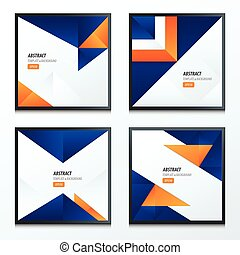 set of origami styles 2 color blue, orange