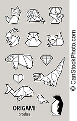 Collection origami with animals and triangles. Paper bear, cat, owl, whale, dinosaur, koala. Geometric set in gray colors