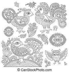 set of original black and white line art rooster drawing