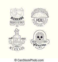 Set of original logos for Mexican restaurants. Sketch style vector emblems with traditional food, tequila bottle and skull