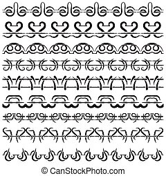 Set of ornamental borders. Black on a white background