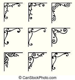 Set of ornamental corners in vintage style. Vector illustration
