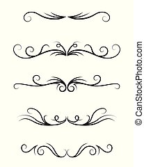 Set of ornamental decorative elements on white background