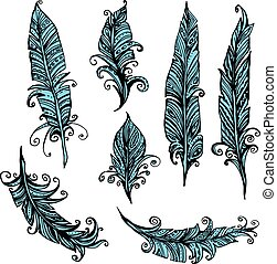 Set of ornamental Feather, tribal design. Ink hand drawn illustration with different indian feathers in black and blue colors.