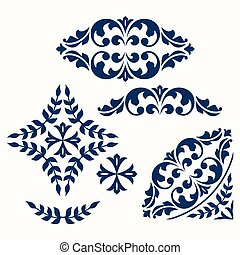 Set of ornamental floral elements for design.