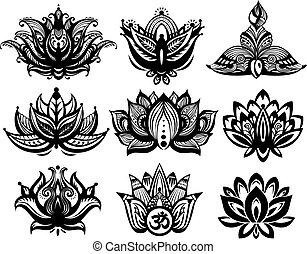 Set of Ornamental Lotus flowers