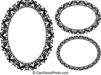 oval frames - set of ornamental oval frames