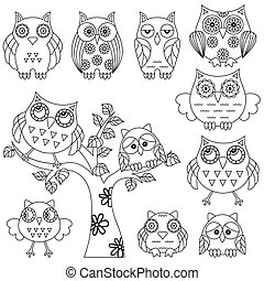 Set of ornamental owl and tree black outlines