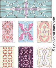 Set of ornamental patterns in mannerism style. Vector...