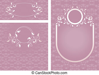 Set of ornamental roses, templates