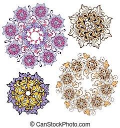 Set of Ornamental round floral patterns.