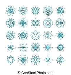 set of ornamental snowflakes