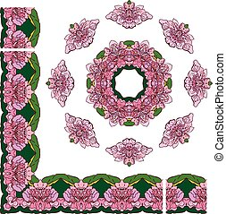 Set of ornaments - circle and rectangular frames, floral borders