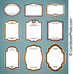 Set of ornate frames. Vector illustration