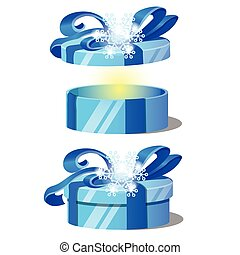 Set of ornate gift boxes with blue lids decorated with snowflake tied with a ribbon bow isolated on white background. Ideas of packing gifts. Vector cartoon close-up illustration.