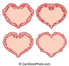 Set of ornate heart frames .