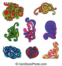 Set of ornate multicolored doodles with intricate and intertwined patterns