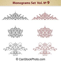Set of ornate patterns in retro style