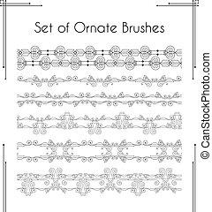 Set of ornate vector brushes.
