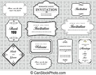 Set of ornate vector frames and ornaments with sample text. ...