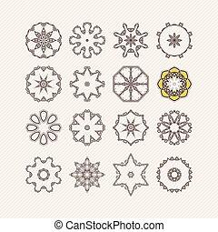 Set of ornate vector mandala symbols. Gothic lace tattoo. Celtic weave with sharp corners.