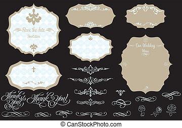 Set of ornate vintage vector frames and design elements