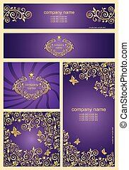Set of ornate violet templates