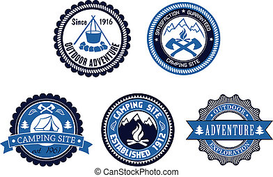 Set of five circular blue Outdoor Adventure and Camping emblems or labels with various text decorated with a tent, cooking fire, axes, mountains and ribbon banners