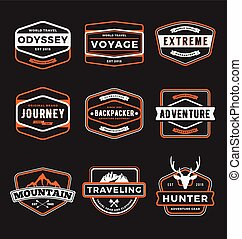 Set of outdoor adventure and traveling gear badge logo