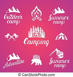 Set of outdoor adventure badges and camping logo emblems.