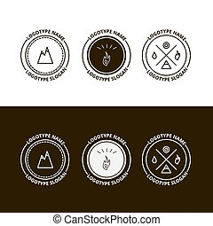 Set of outdoor adventure, expedition, tourism logo