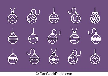 Set of outline Christmas balls. vector illustration.