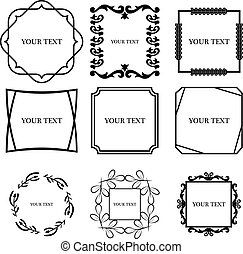Set of outline decorative vintage frame. Vector illustration.