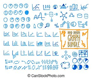 Set of outline doodle, sketched, hand drawn business management infographics elements, icons, arrows, charts, pies, analytic and statistic symbols. Mega bundle. Isolated on white background.