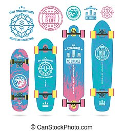 Set of outline emblems on longboard - Set of outline emblems...