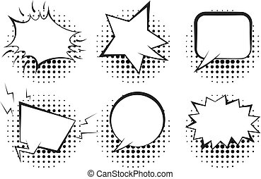 Set of outline empty retro speech bubbles