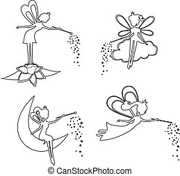 Set of outline Fairy with a magic wand