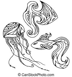 Set of outline fish and jellyfish, decorated boho pattern. Vector element for your creativity