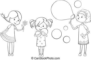 Set of outline girls
