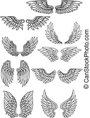 Set of outline heraldic wings in black and white with...