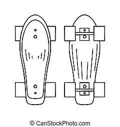 Set of outline illustration of a skateboard top and bottom view. Active lifestyle. Sports hobby. Vector contour object