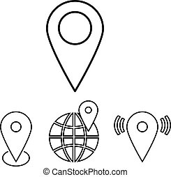 Set of outline map pointers. Linear vector illustration