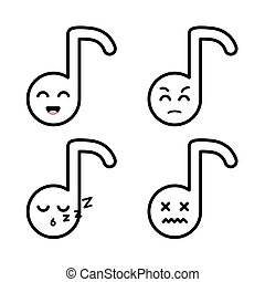 Set of outline note emoticon - Set of blackoutline notes...