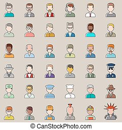 Set of outline people icons. Men.